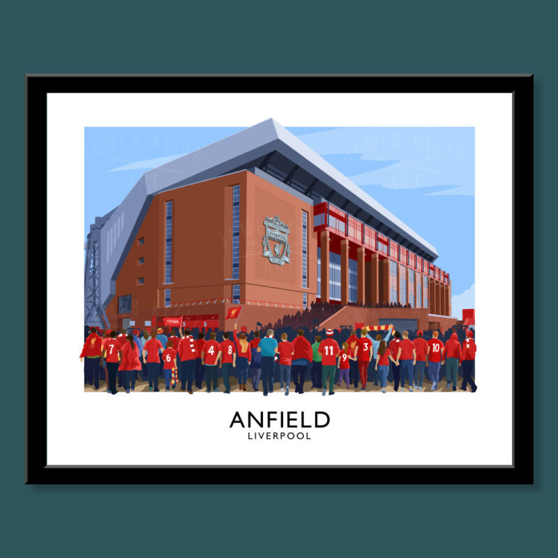 anfield liverpool fc travel poster