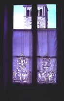 A window with lace