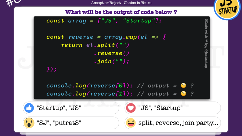 JavaScript Quiz – Reverse array element but in the same position