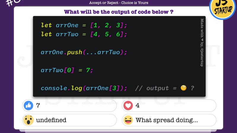 JavaScript Quiz – what really spread syntax with array pushing