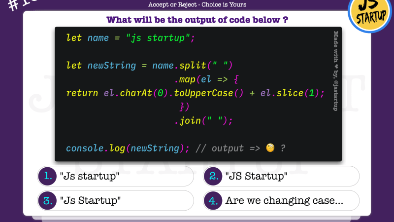 JavaScript Quiz – can it uppercase the string first letter