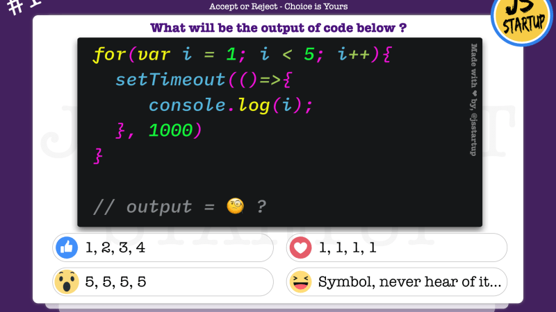 JavaScript Quiz – can setTimeout in the for loop print values