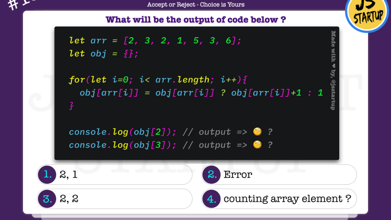 JavaScript Quiz – array element duplicate count with for loop