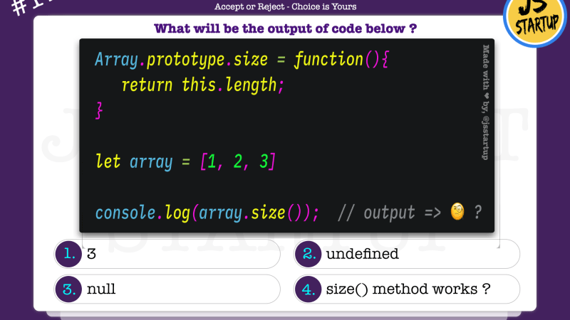 JavaScript Quiz – can array have the size method like a set