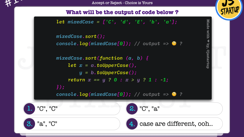 JavaScript Quiz – can mixed case array sort is possible