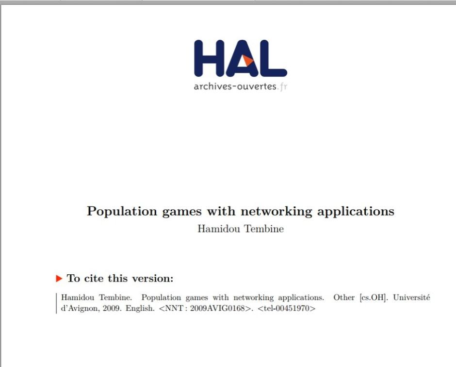 Jeux de population avec applications de réseau