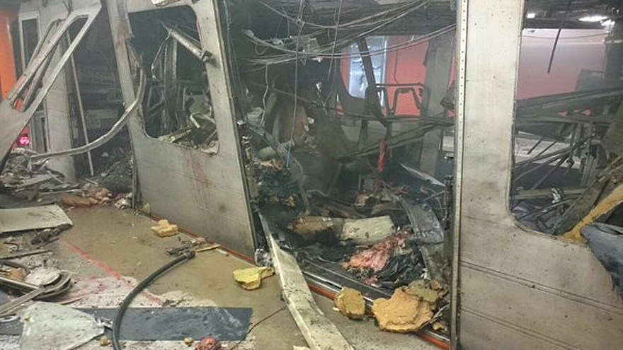 The aftermath of an explosion in a metro train in Brussels on March 22, 2016. Courtesy of Alexandre De Meeter/Twitter.com