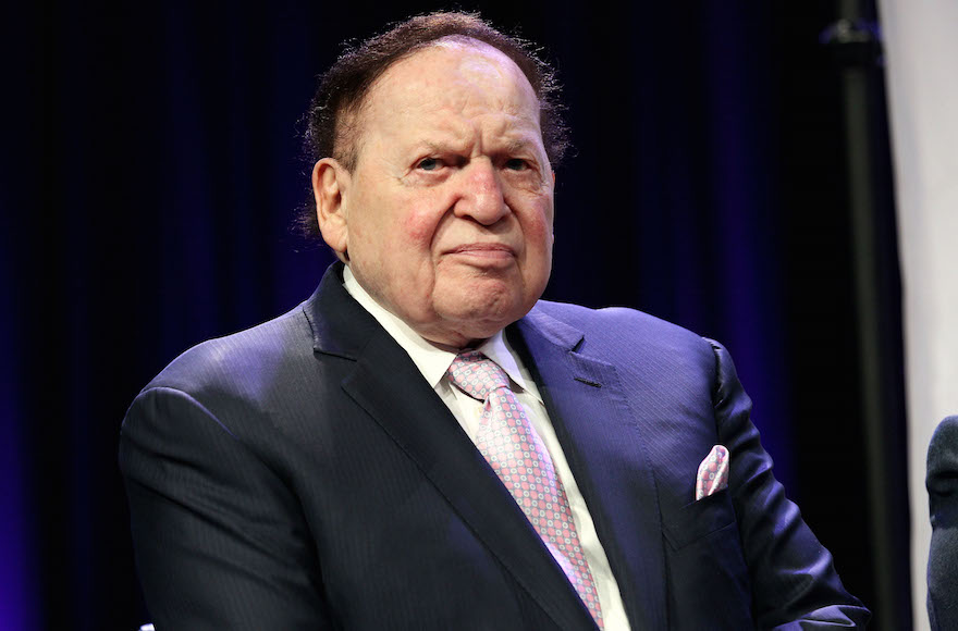 Sheldon Adelson attending the fourth Annual Champions Of Jewish Values International Awards Gala at Marriott Marquis Times Square in New York City, May 5, 2016.  (Steve Mack/Getty Images)