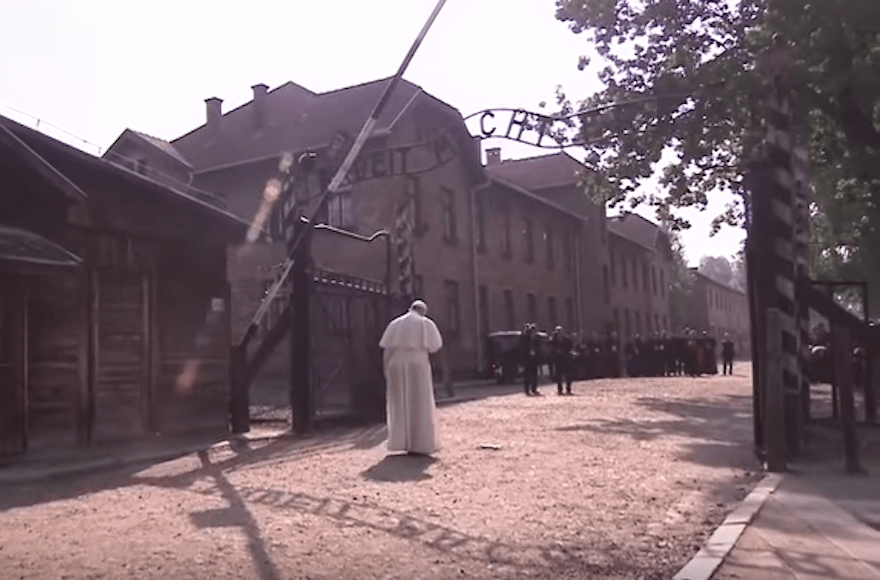 Pope Francis visiting Auschwitz. (Screenshot from YouTube)
