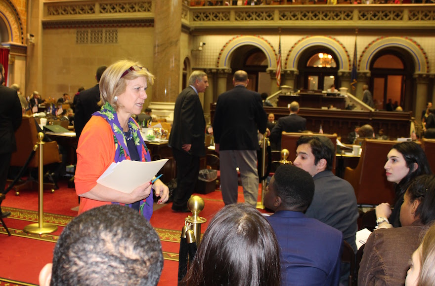 Assemblywoman Shelley Mayer addressing students on Teach-NYS mission in the New York State Assembly Chamber. (Teach NYS)