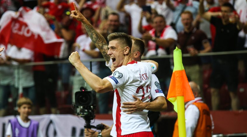Poland's forward, Kamil Grosicki, celebrates scoring during the UEFA Euro 2020 qualifier match Poland against Israel on June 10, 2019 in Warsaw, Poland. (Photo by Foto Olimpik/NurPhoto via Getty Images)