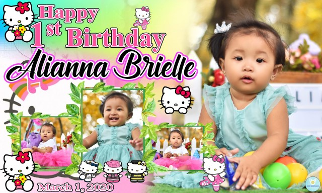 First birthday Tarpaulin Design in Hello kitty theme