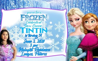 tintin 5th birthday Invitation design in Frozen Theme