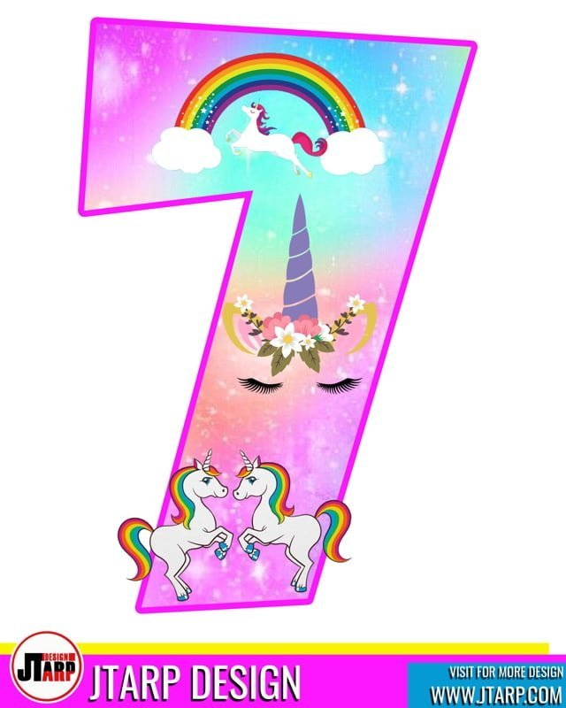 Free printable Number 7 Unicorn theme