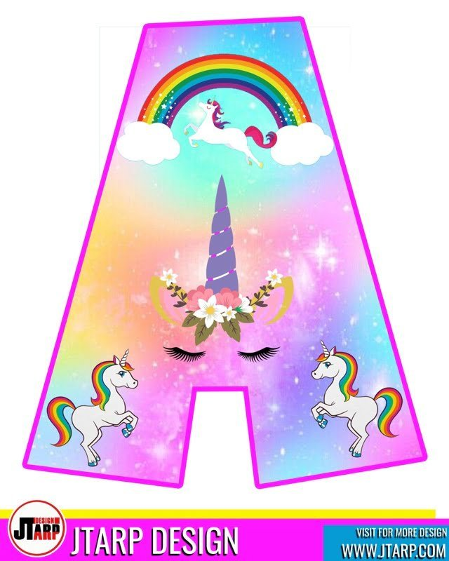 free unicorn party printables, Alphabet Letter A