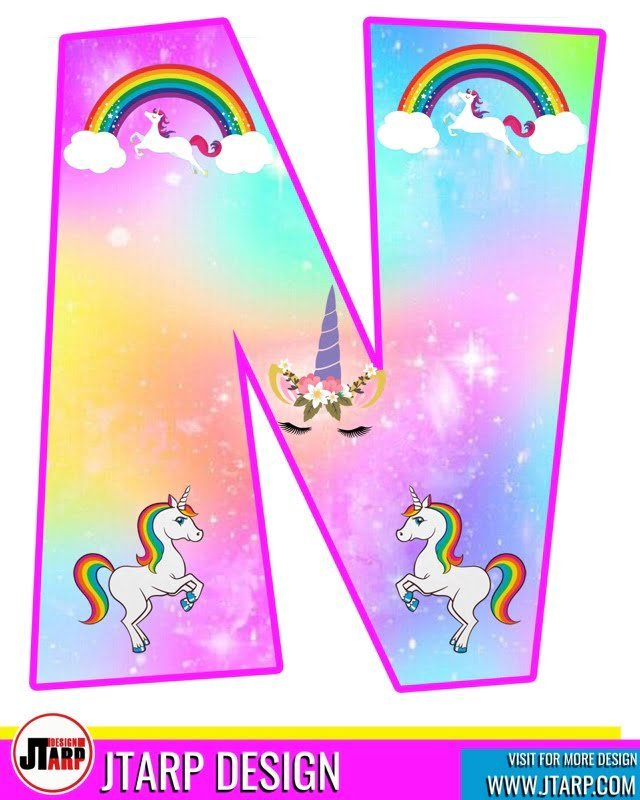 free unicorn party printables, Alphabet Letter N