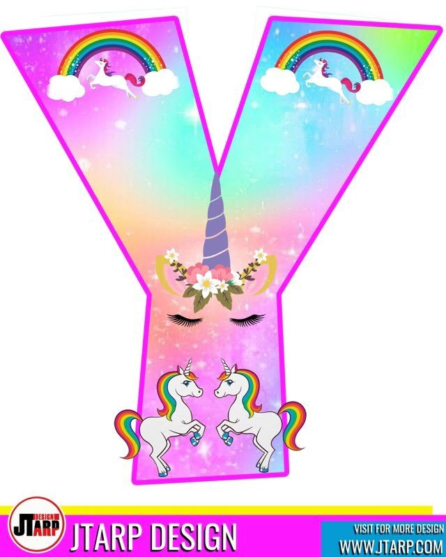 free unicorn party printables, Alphabet Letter Y
