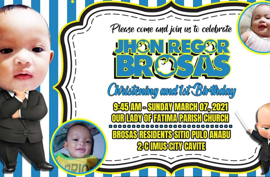 Boss Baby Invitation Template for Birthday and Christening: FREE PSD Download