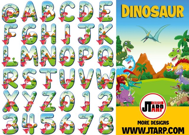 Free Printable Dinosaur Alphabet Letters A-Z and Numbers 0-9