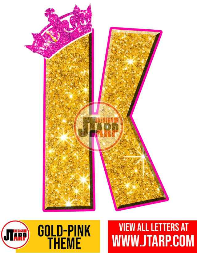 Letter K Gold and Pink Printables Tutu Unicorn Crown