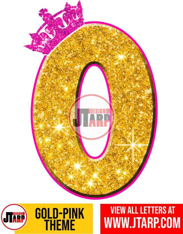 Letter O Gold and Pink Printables Tutu Unicorn Crown