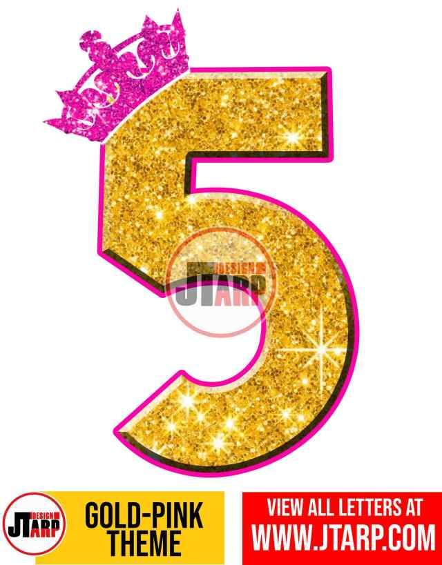 Number 5 Gold and Pink Printables Tutu Unicorn Crown