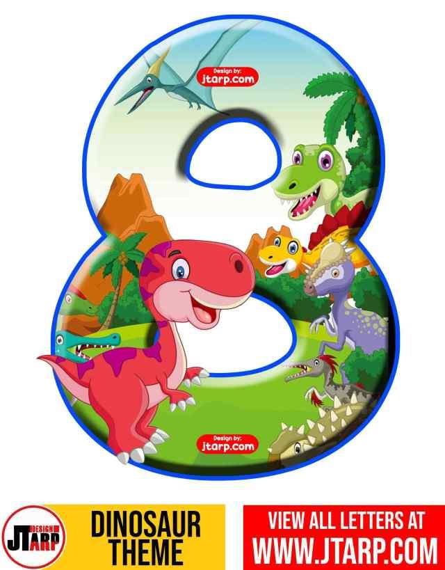 Number 8 Free Printable Dinosaur Number 0-9