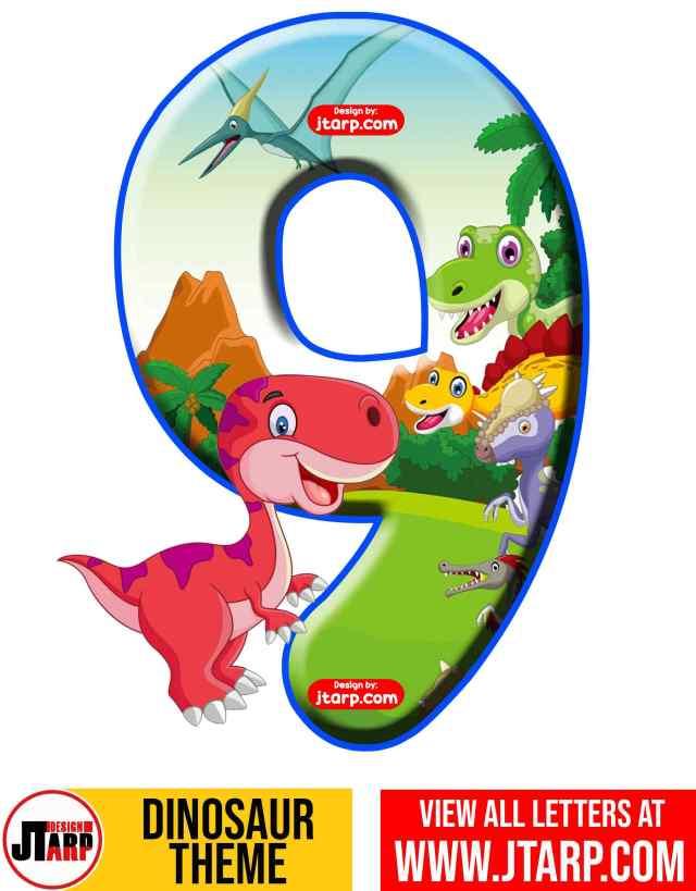 Number 9 Free Printable Dinosaur Number 0-9