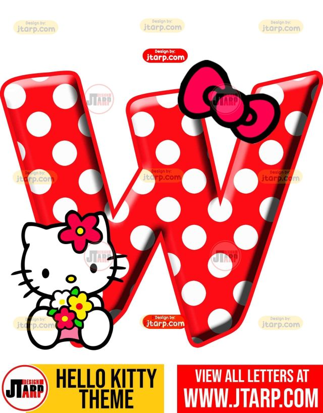 Letter W hello kitty printable letters design