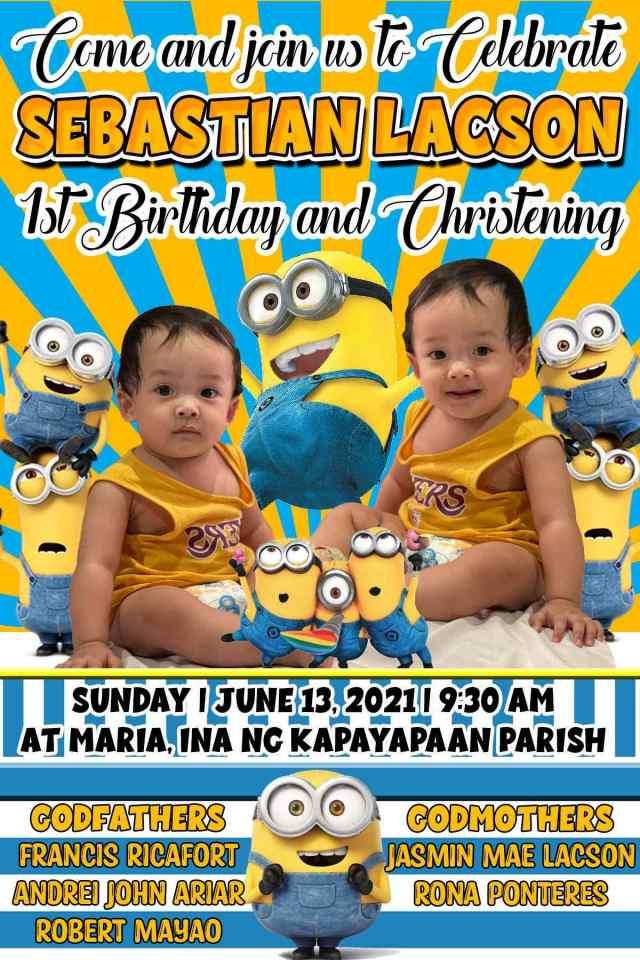 Minions Birthday Theme Tarpaulin Yellow Blue Theme