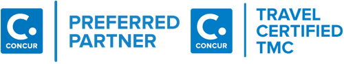 Concur Preferred Partner logo and Concur Travel Certified TMC logo