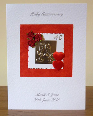 Red Roses and Hearts - Ruby Wedding Anniversary Card Front - Ref P101