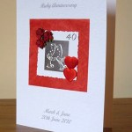 Red Roses and Hearts - Ruby Wedding Anniversary Card Angle - Ref P101