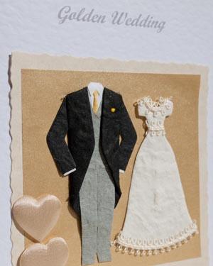 Golden Couple - Golden Wedding Anniversary Card Closeup (50 years) - Ref P102