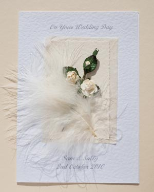 Feathers and Roses Wedding Card Front - Ref P105
