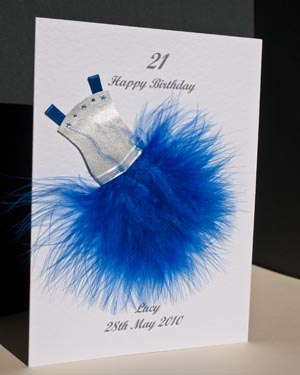 Flouncy feathers - blue - 18th/21st Birthday Card Angle - Ref P107b