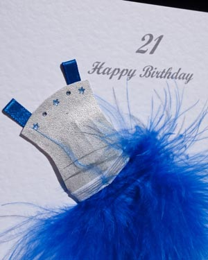 Flouncy feathers - blue - 18th/21st Birthday Card Closeup - Ref P107b