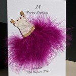 Flouncy feathers - cerise - 18th/21st Birthday Card Angle - Ref P107c