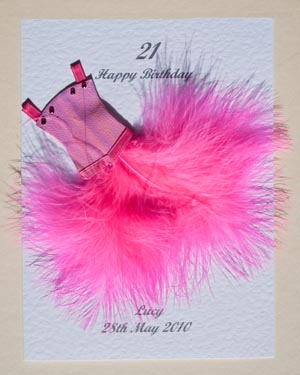 Flouncy feathers - hot pink - 18th/21st Birthday Card Front - Ref P107h
