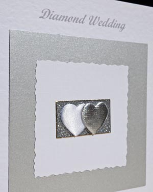 Diamond Hearts - Diamond Wedding Anniversary Card Closeup - Ref P110