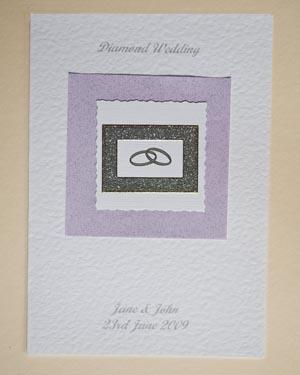 Diamond Rings - Diamond Wedding Anniversary Card Front - Ref P111