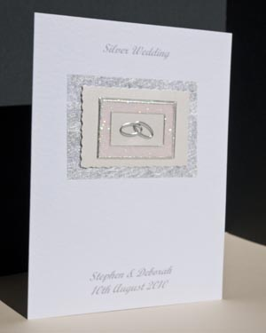 Silver Rings – Silver Wedding Anniversary Card Angle – Ref P117