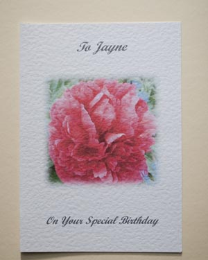 Peony - Birthday Card Front - Ref P122