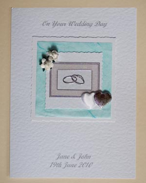 Roses, Hearts and Rings Wedding Card Front - Ref P127