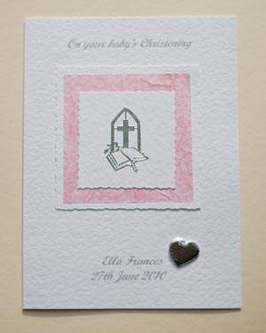 Girl's Christening Card Front - Ref P134