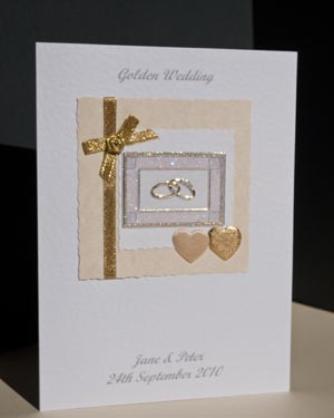 Gold Rings - Golden Wedding Anniversary Card Angle (50 years)