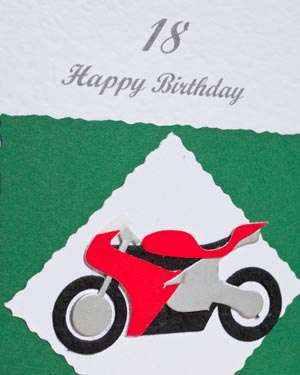 Motorbike - Men's Birthday Card Closeup - Ref P148