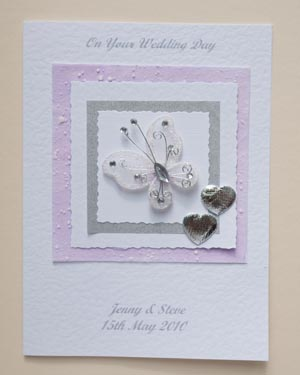 Beautiful Butterfly Wedding Card Front - Ref P157