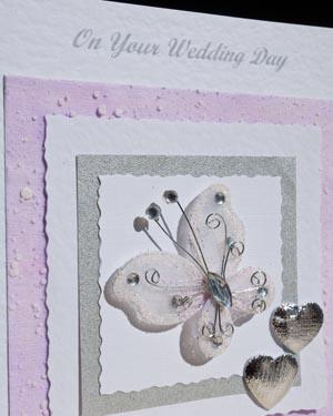 Beautiful Butterfly Wedding Card Closeup - Ref P157