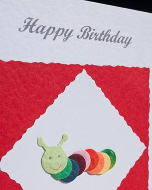 Caterpillar - Birthday Card Closeup - Ref P164